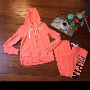Victoria secret pink sweat suit set m/l